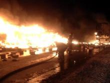 В Татарстане на автотрассе М-7 столкнулись два грузовика и загорелись - водители погибли