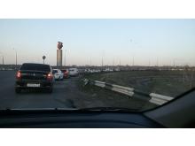 Светофор перед Боровецким мостом создал вчера автомобильную пробку длиной до 5 км