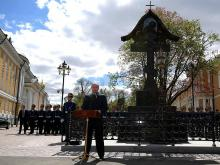 Владимир Путин открыл крест дяде императора Николая II, взорванному эсером Иваном Каляевым