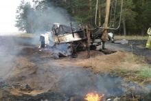 В Елабужском районе повредили газопровод. При пожаре сгорел автомобиль